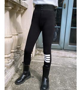 Fashion New Kids Tight winter children 3 stripe thicken Leggings Girls 3 button High Waist stretch leggings A4858