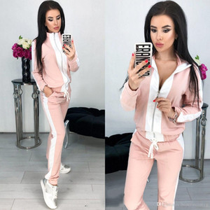 Womens Designer Fashion Tracksuits Zipper Solid Color Yoga Letter Print gym Two Piece Set long sleeve Casual Clothing Set t shirts sportwear