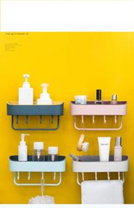 2020 simple non-perforated bathroom wall hanging rack, bathroom multifunctional kitchen plastic storage organizer, convenient storage suppli