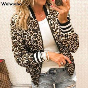 Wuhaobo Sexy Leopard Casual Jackets Women Spring Autumn Basic Print Bomber Zipper Coat Fashion Long Sleeve Female Slim Outerwear