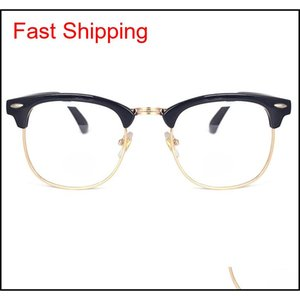 NUEVA Aleación Medio Marco Remache Gafas de Computación Anti Radiación Resistente a Radiación Castre De Moda Optical Eye Eye Gafas Qylhde Bde_Home