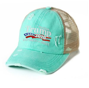 Ponytail Baseball Caps Make America Great Again Trump Hat 2020 US Flag Election Hats Donald Trump Washable Baseball Caps Supplies OWD2163