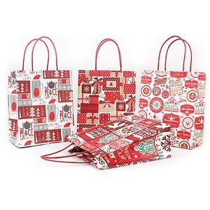 2021 Christmas Gift Kraft Paper Bag Creative Bronzing Cute Cartoon Christmas Packaging Tote Bag Free DHL