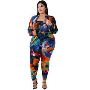 Tie Dye Womens Designer 2 unids Slash cuello Sexy Plus Slim Sumpsuits and Abrigos Ropa de mujer 2 piezas