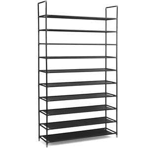 10 Nivel apilable zapatero estantes de almacenamiento marco de acero inoxidable tiene capacidad para 50 pares de zapatos; Duradera y robusta, marrón oscuro