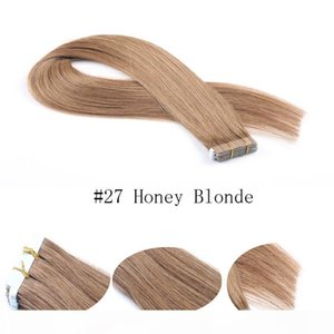 Remy Human Hair Extensions 20pcs Invisible Skin Weft Silky Straight Tape In Hair Extensions #27 Honey Blonde
