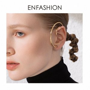 ENFASHION Big Circle Hoop Earrings For Women Accessories Gold Color Statement Ball Curve Hoops Earings Fashion Jewelry E191122 CqXJ#