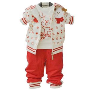 Christmas 1st Birthday Outfit For Baby Boy Girl Set Boutique Clothes 3pc Cotton Suit Kid Wear Jacket+T Shirt+Pant New Born Kit Y1113