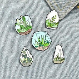 Punti smaltati in vaso Pins Smalto Personalizzato Cactus di terrarium Aloe Spille Borsa Vestiti Bavero Pin Verde Plant Plant Badge Gioielli regalo per gli amici ZDL1013.