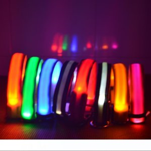 8Colors 4Sizes Night Safety LED Light Flashing Glow Nylon Pet Dog Collar Small Medium Dog Pet Leash Dog Collar Flashing Safety Collar