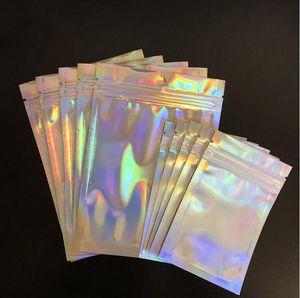 Cosmetic Bag Piatto Sale da bagno Annullamento del Blocco Mini olografico Una lamina laser Borse Spesso laterali con cerniera in alluminio