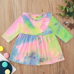 Recién nacido lindo bebé 3-24m algodón manga larga vestido colorido niños primavera otoño moda vestidos ropa ropa
