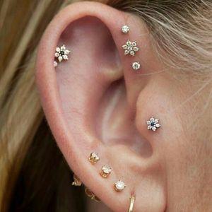 100% 925 argent sterling 5mm ressort cz nouveaux bijoux AAA zircone cubique étincelles clous de fleurs bling mini-fille boucle d'oreille