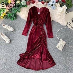 Elnage Herbst weinrot Temperament Fishtail-Kleid-Nixe Robe mit V-Ausschnitt-dünne Taillen-Gold-Samt-Weinlese Vestidos für Frauen 5A751 YSpX #