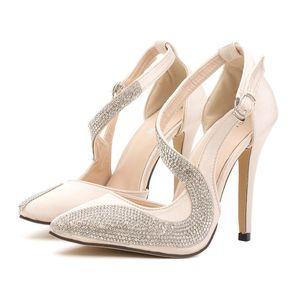 2014 new luxury champagne color rhinestone fashion high heels sandals wedding bridemaid stiletto heel dress shoes ePacket Free Shipping