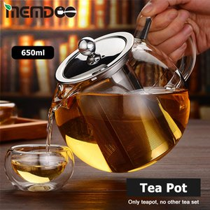 MEMDOO Glass Teapot Heat Resistant 650 1300ml Stainless Steel Infuser & Lid Herbal Pot with Removable Tea Strainer Q1218