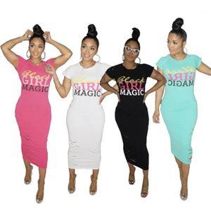 Slim Casual Short Sleeve Round Neck Dress Women Letter Pattern Dress Fashion Bronzing Beads Hole Long Dresses Designer New Female