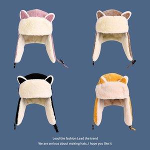 Inverno Bomber Cappelli Skullies Earflap protezioni casuali delle donne per le signore Warm Gorros addensare animale dolce Bonnet Beanie Hat