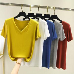 Tişörtlü 2020 Yaz Yeni Modal İplik V yaka tişört Kadın Katı Renk Short Sleeve Kıyafetler dibe Shirt
