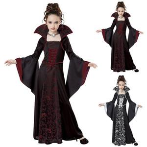 Хеллоуин костюм на День детей девочки Witch Vampire Cosplay Medieval старинных платья Детского Мертвой одежду Карнавал партии