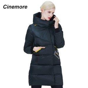 Cinemore 2020 New Women Parka Pocket Patch Contraste Color Invierno Down Chaqueta Personalidad Moda Hat Abrigo Mujeres 2076
