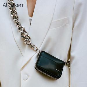 Толстые металлические цепи сумки на ремне Женщины Личность черный Mini Card Holder монет Кошельки женские Англия Стиль Малый кошелек сумки