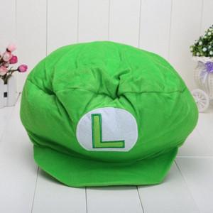 Commercio all'ingrosso-Super Mario Cap Green Luigi Peluche Cappello Spesso in cotone Mario Costume Cappello QQKZ #