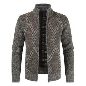 NEGIZBER Autunno Inverno Sweater Mens casuale stand spessore collare del cardigan di modo degli uomini maglione caldo Cappotti Men 201007