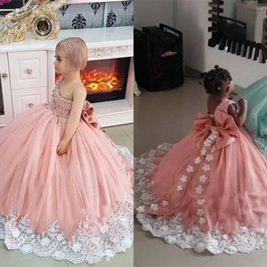 Lovely Pink Puffy Girls Pageant Dresses One Shoulder White Lace Handmade Flowers Beaded Kids Flower Girls Birthday Gowns robes de soirée