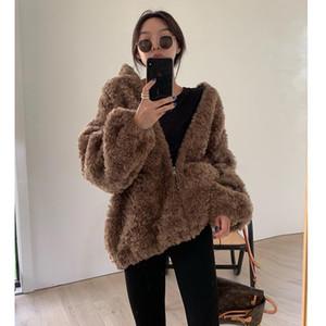 Şişe Modern Valley Kışın Yeni Kuzular Yün 2020 Teddy Villi Pamuk Yün Ceket Ziper Interure Joker Kadın