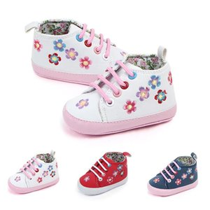 Spring Autumn Newborn Shoes Baby Girls Flower Print PU First Walkers Lace-Up Soft Sole Walking Shoes For Newborn