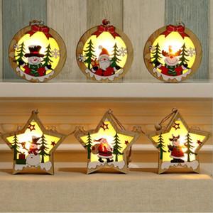 Рождество Деревянные украшения Деревянные Pentagram Luminous Санта Снеговик Олень Подвеска Рождество Светящиеся Деревянные украшения CYZ2831 60pcs