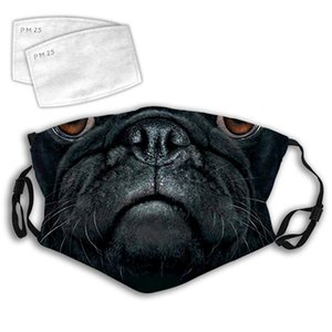 Minimal solaire Cartoon planètes Bouche Masque poussière coupe-vent moufles réutilisable visage Couverture oreille réglable boucles Pug Black Dog Face Mask
