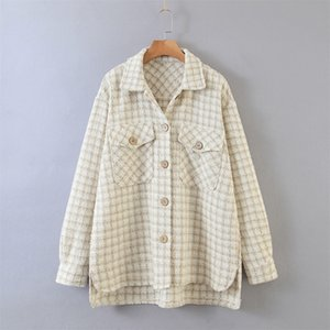 autumn new ladies coat lapel long-sleeved sand color plaid pocket buttoned lady temperament shirt jacket 201030
