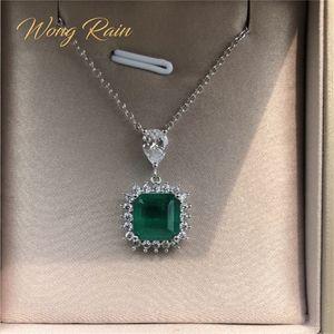 Wong Rain Vintage 100% 925 Sterling Silver Sterling Emerald Gemstone Diamonds Collana Collana Cocktail Party Fine Gioielli regalo all'ingrosso LJ201009