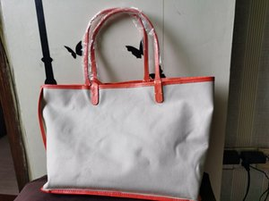 Fashion Women Handbag Lady Shopping Bag Canvas Tote Bags With Genuine Real Leather Trim And Handle With Real Leather Wallet