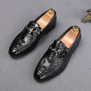 New British Men Crocodile Pattern Oxfords Wedding Flats Shoes Zapatos Hombre Gentleman Pointed Prom Dress Evening Footwear
