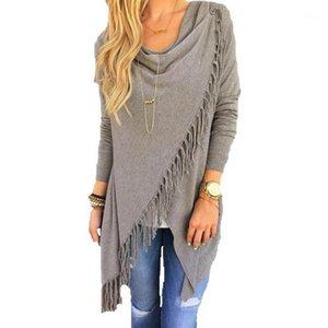 Wholesale- Autumn Women Long Sleeve Causal Sweater Outwear Tassel Asymmetric Cardigan Coat Female Women Jacket Coat Top Plus Size KS0341