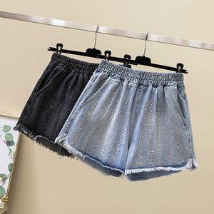 Women's Jeans 2021 Summer Women Personality Sequined Plus Size 5XL Denim Shorts Ladies Chic Elastic High Waist Streetwear T921
