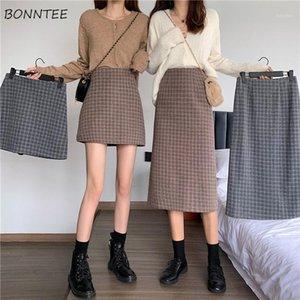 Skirts Women High-waist Plaid A-line Vintage Body-con Skirt Elegant Simple All-match Fashion Korean Girls Autumn New Falda Mujer1