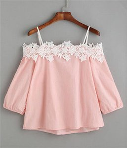 Fashion Women Ladies Summer Lace Off shoulder Blouses 2021 Women Pink Blue Long Sleeve Clothing Tops Casual Blouses Crop Tops