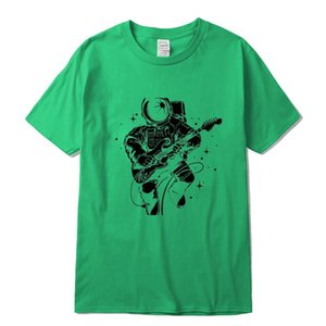 Xin Yi Men's Casual High Quality 100cotton Short Sleeve T Shirt Funny Astronaut Plays Guitar Print Mentshirt O Neck T Shirt Men jllyvG
