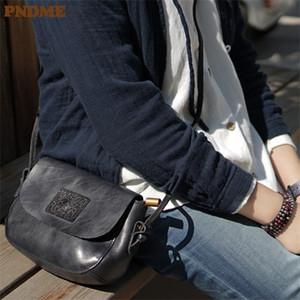 PNDME Fashion Vintage Handmade Genuine Leather Ladies Borsa a tracolla Piccola Borsa a tracolla Casual Real Bovina Donne Daily Daily Weekend Messenger Bag C0121