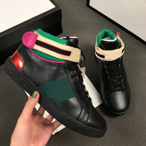 New Ace Sneakers Men Flats With Red And Green Stripe Women Luxury Designer Shoes High Top Leather Shoe Bee Printing Boots ct4