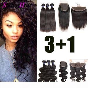 Монгольский Remy человеческих волос 3 Связки с 4x4 Шнурок Закрытие отложенной Объемная волна волос девственницы 3 Связки с 13x4 Lace фронтальным Бесплатная доставка