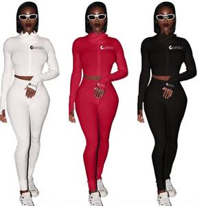210k 2020 Dos European Winter Popular American y Otoño Mujeres039; S traje de color sólido Sports Pieza de Navidad Set