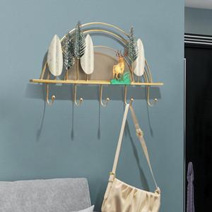 Luz de lujo ciervos ganchos de pared marco decorativo porche arte creativo ropa y sombrero toalla toalla llave europeo marco de la sala de la sala de la habitación