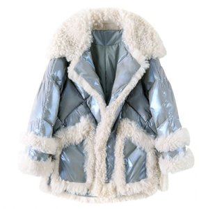 NEW Women's winter jacket real woolen Fur Collar winter coat for women splice lambswool Thicken Parkas Warm Down Cotton Parka