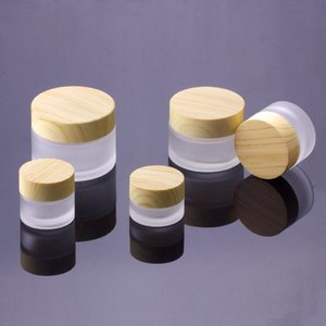 Frosted Cosmetic Glass Jar Hand Bottles Round Face Cream Bottle 5g-10g-15g-30g-50g Jars with wood grain cover Epacket