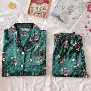 New Arrivals 2020 Lovers Pyjamas Women Silk Satin Pajama Sets Cartoon Bear Couple Pajamas For Women Flower Printed Sleepwear Sets Pijama #540